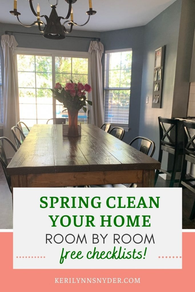 Try the room-by-room spring cleaning method to simplify the process! Grab the free printable checklists!