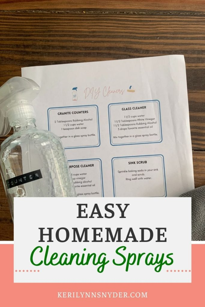 Use these homemade cleaning spray recipes for  natural cleaning. Get the 4 DIY cleaning spray recipes