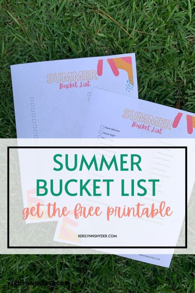 Create a summer bucket list for your family this summer! Get the free printable.